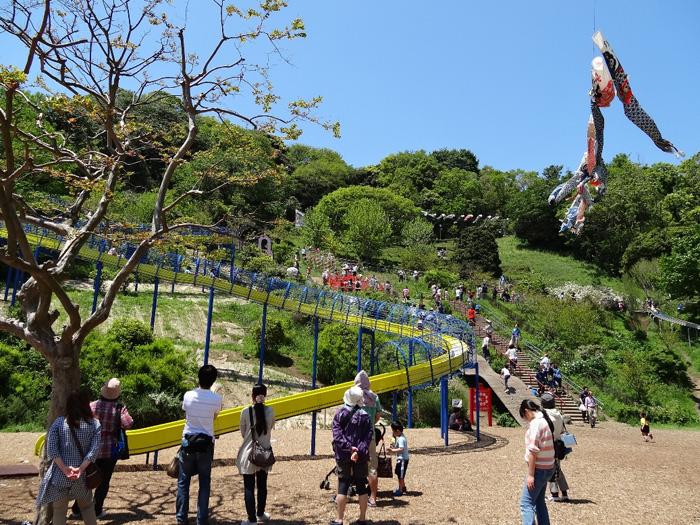 金沢自然公園にあるローラーすべり台とアスレチック