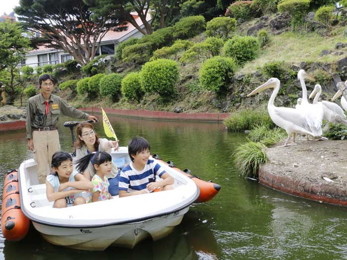 ボートに乗って園内の池を巡ろう