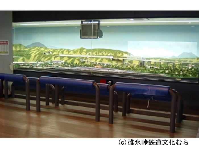 資料館内に碓氷峠の鉄道ジオラマが展示