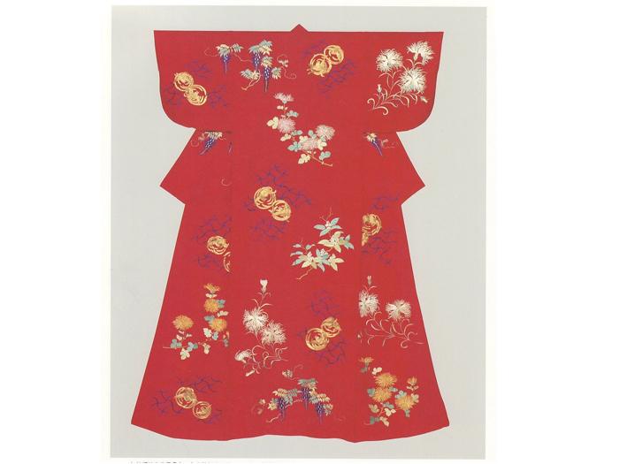 紅縮緬折枝繍小袖