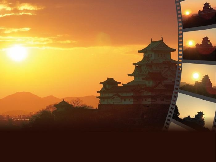 姫路城に昇る朝日(イメージ)